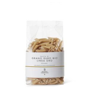 Confezione di pasta Penne Grano durobiologico italiano 500 gr Ingredienti: farina di Grano durobiologico (da agricoltura biologica) macinata a pietra, acqua.